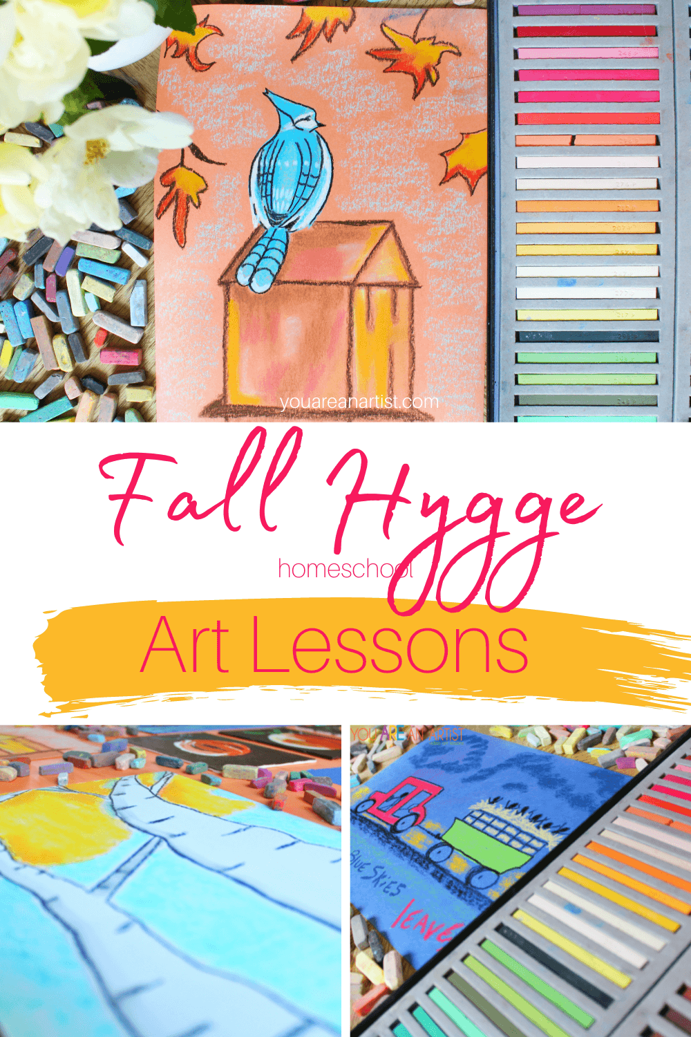 Fall Hygge Homeschool Art Lessons:Here are some super simple ideas on ways to create a fall hygge homeschool art lesson with items you may already have on hand or within easy reach. #fall #fallhygge #chalkpastels #homeschool #homeschoolartlessons