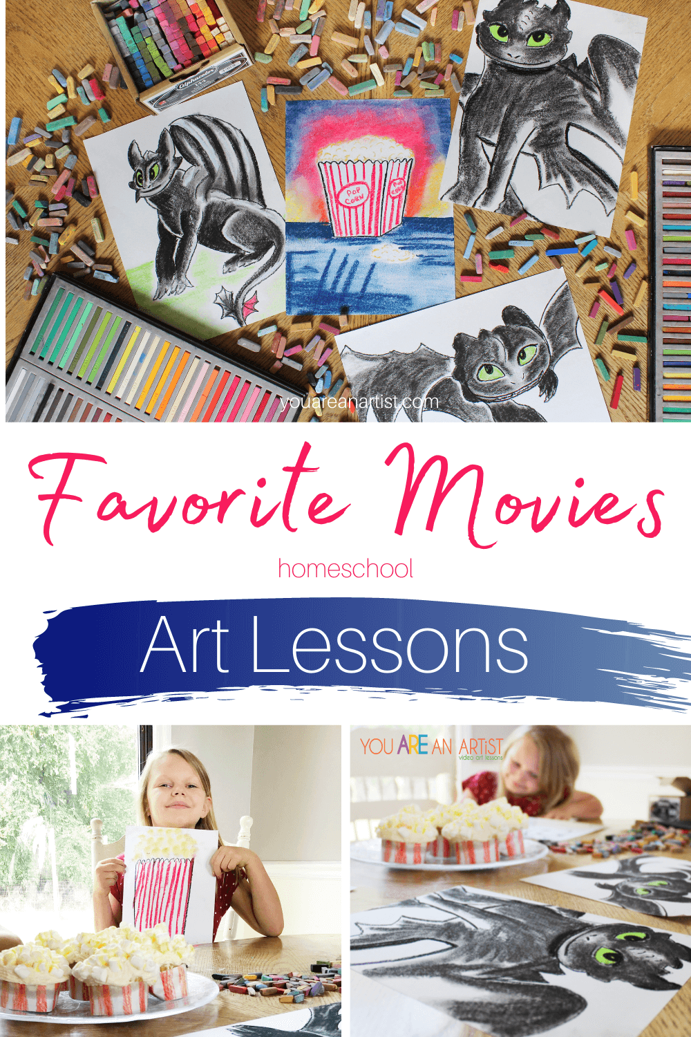 Favorite Movies Homeschool Art Lessons: Don't let family movie night become boring! Bring some excitement back with these chalk pastel art lessons. All you'll need is a pack of construction paper and a set of chalk pastels. So grab your favorite movie snacks or make some of your own and join Nana for some of your family's favorite movies. #familymovienight #chalkpastelartlessons #familymovienightartlessons #familymovieartlessons #favoritemovieshomeschoolartlessons #chalkpastelmovieartlesson #chalkpastelsatthemovies #artatthemovies