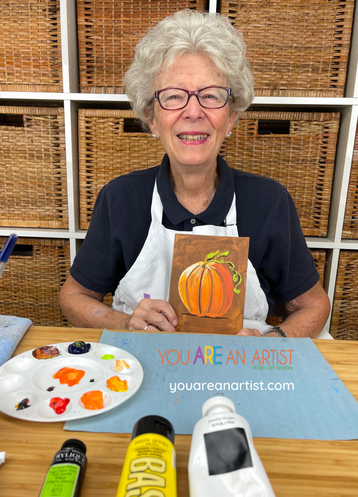 Join Nana in the You ARE an ARTiST Clubhouse for a fall acrylic pumpkin art lesson for your homeschool.