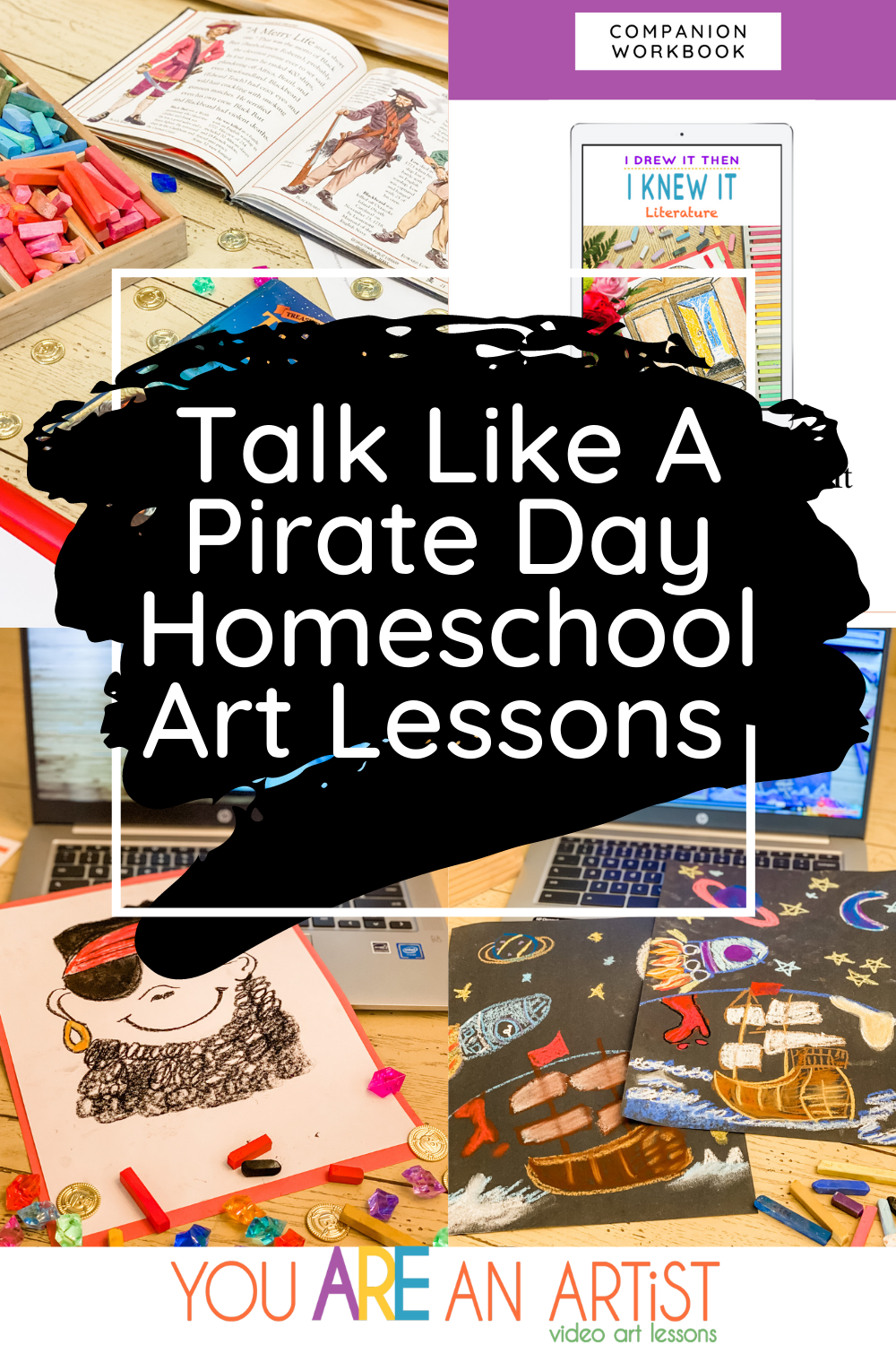 Talk Like A Pirate Day Homeschool Art Lessons To Help You Celebrate! Art lessons, books, movies, and educational ideas to make a memorable homeschool day! #homeschoolart #talklikeapirateday #pirateart