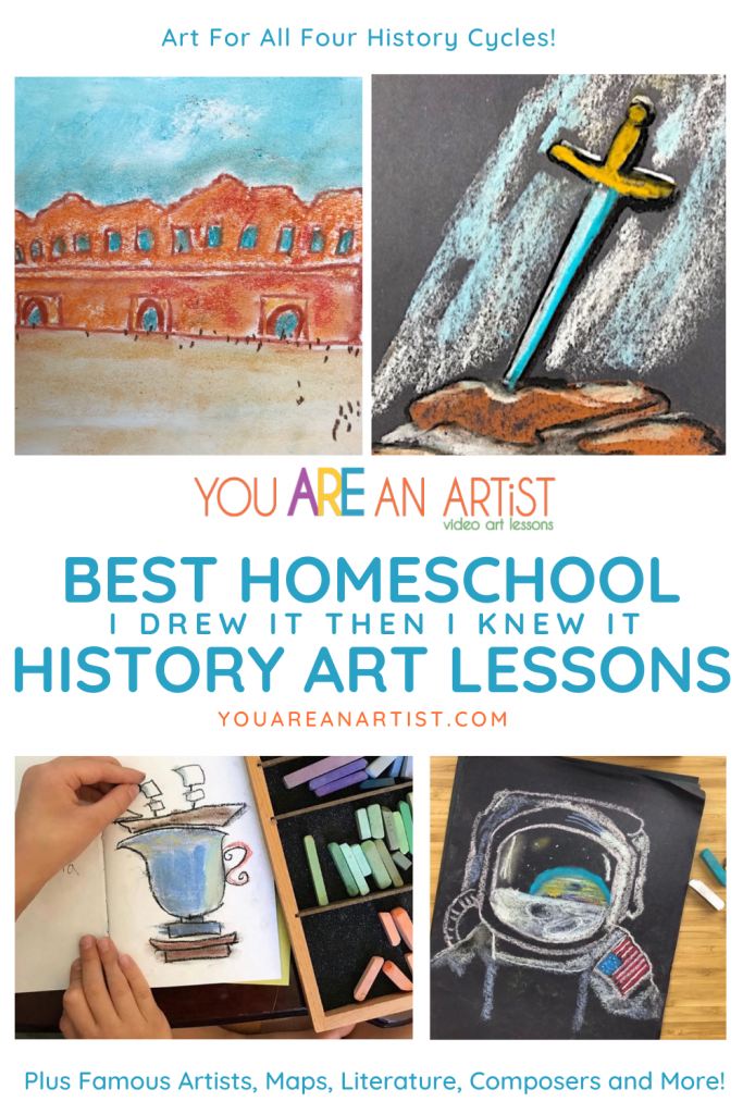 Art Lessons for your homeschool history curriculum! Nana's I Drew It then I Knew It video lessons are the easy - and fun - way to learn history. Ancient, medieval, early American and modern history.