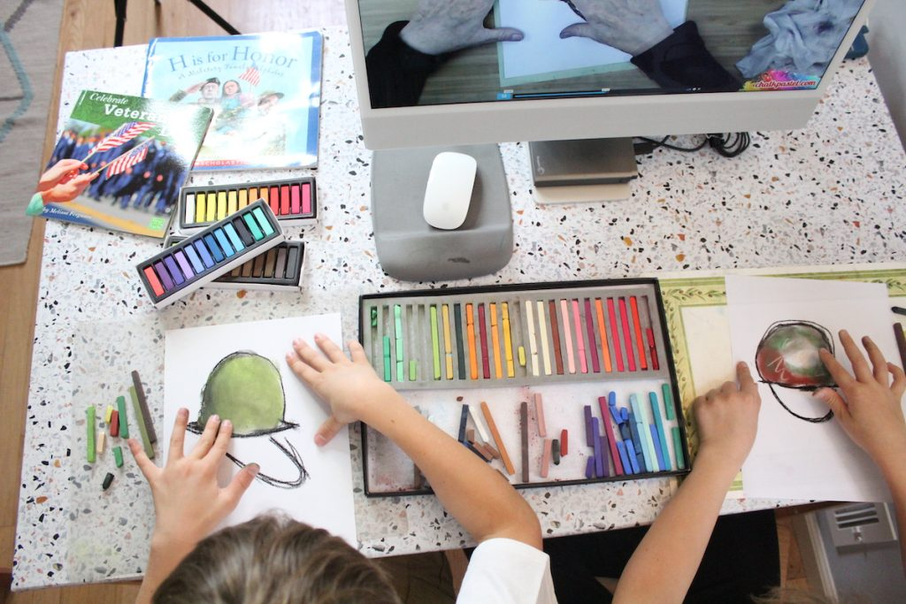 Painting military helmet with an art lesson from You ARE an ARTiST in honor of Veterans Day