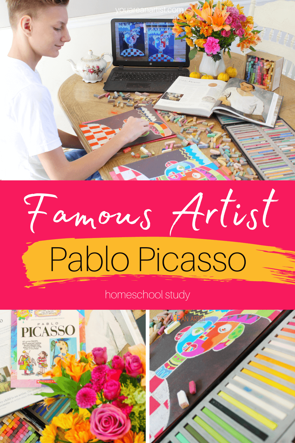 Famous Artist Pablo Picasso Homeschool Study: This homeschool study has everything you need to learn more about artist Pablo Picasso, including a chance to create your own work of art! #artprojects #famousartistsonlineunitstudy #onlineunitstudy #arthistory #arteducation #modernart ##onlineartcourse #picasso #pablopicasso #youareanartist #chalkpastels #homeschoolart