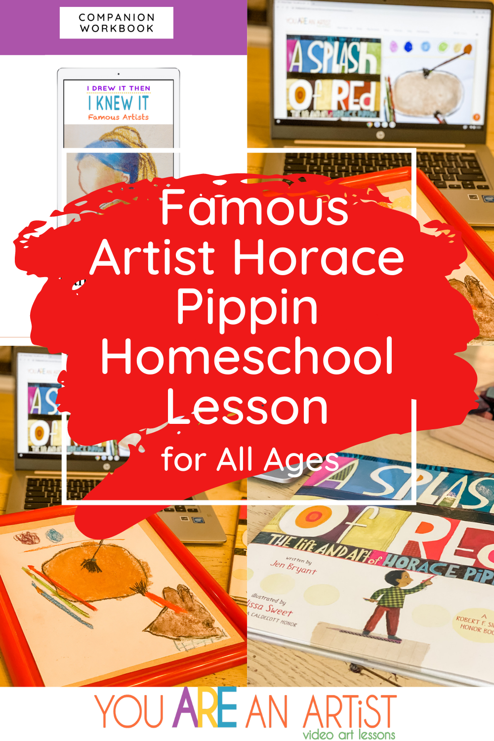 Enjoy homeschool art appreciation with famous artists! Our Horace Pippin homeschool art lesson is great for any age. #horacepippin #famousartists #homeschoolart #onlineartlessons