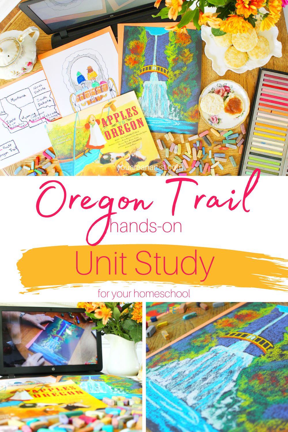 A Hands-On Oregon Trail Unit Study For Your Homeschool: You'll love these ideas for a hands-on Oregon Trail unit study for your kids. Homeschool history is much more enjoyable with books, art, maps, and more! #OregonTrail #OregonTrailunitstudy #OregonTraillessons #hands-onOregonTrail #homeschoolhistory #homeschool #chalkpastels #YouAREAnArtist