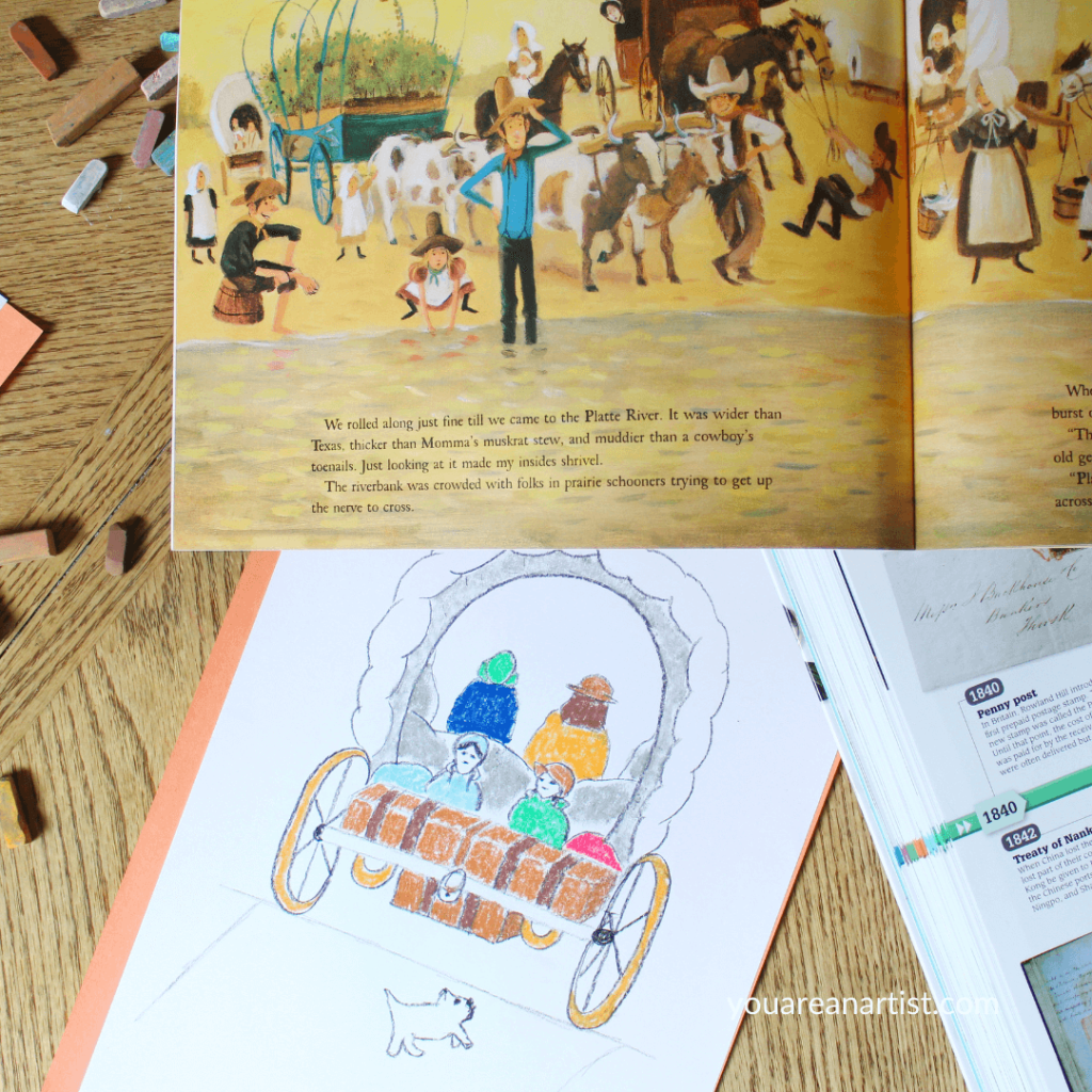 You'll love these ideas for a hands-on Oregon Trail unit study for your kids. Homeschool history is much more enjoyable with books, art, maps, and more!