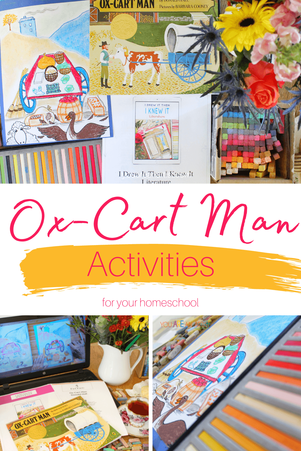 Ox-Cart Man Activities For Your Homeschool: Take a trip back to the 1800s with a New England farmer in the Ox-Cart Man. In a time when you wove your own clothes, whittled your own broom, and split your own shingles, this lyrical story takes you on a journey through the changing seasons. These activities are sure to bring the Ox-Cart Man to life! #chalkpastels #YouAREAnArtist #OxCartMan #OxCartManActivities #videoartlessons #homeschool #changingseasons #chalkpastelteatime