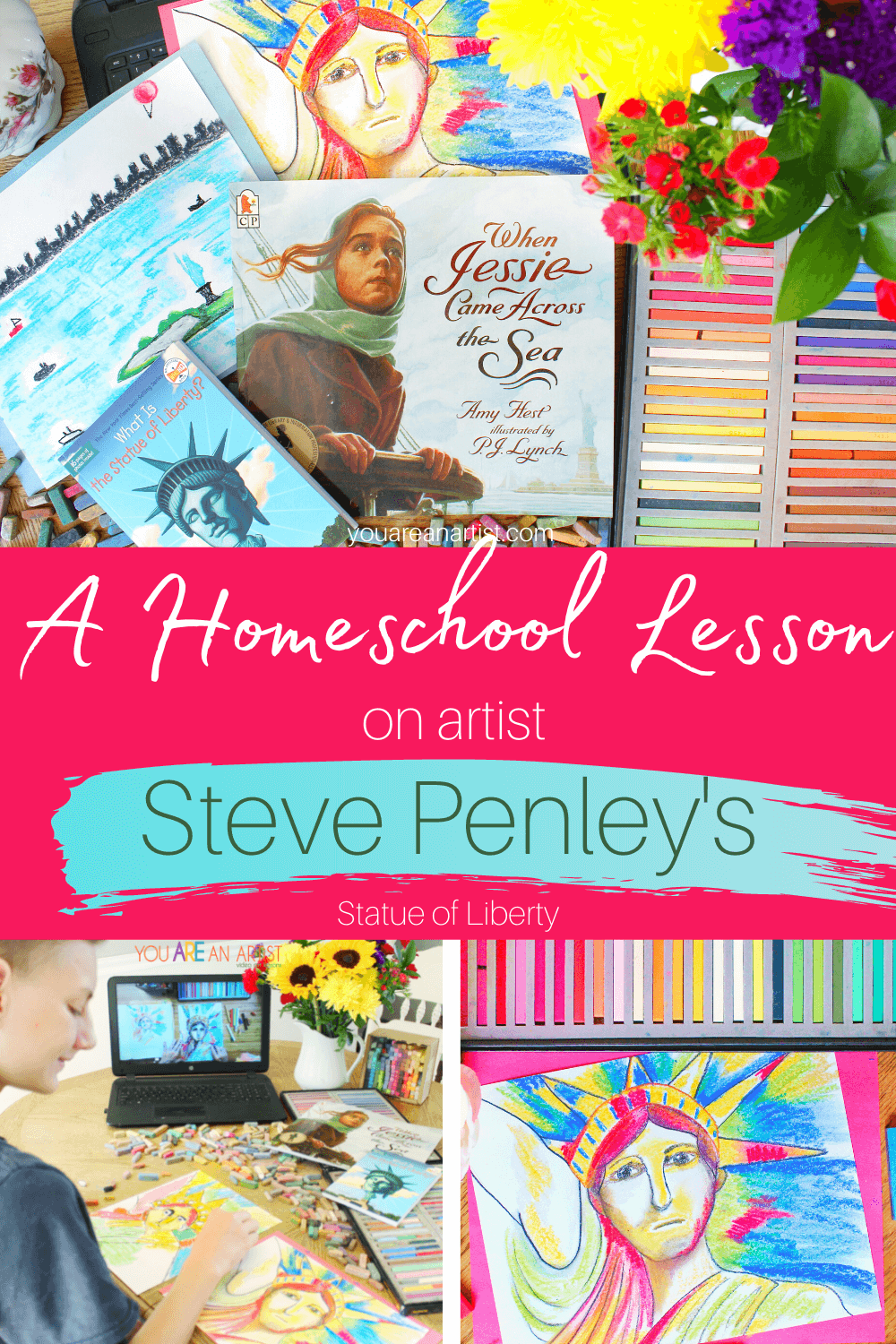 A Homeschool Lesson on Artist Steve Penley's Statue of Liberty : This homeschool lesson has everything you need to learn more about artist Steve Penley and the Statue of Liberty he painted, including a chance to create your own work of art! #onlineartlessons #chalkpastels #youareanartist #famousartists #statueofliberty #homeschoolart #artlessons #stevepenley