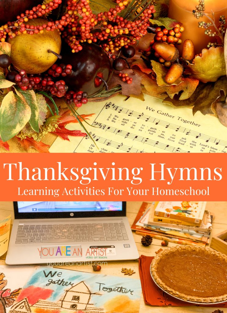 These Thanksgiving hymn learning activities are a favorite for celebrating during this time of Thanksgiving. A season of thankfulness and gratitude would not be complete without sharing thanks to God for all of our blessings. One of our favorite ways to celebrate during this time of Thanksgiving is with hymn studies. Many songs help us to remember our gifts and sing our gratitude to God. Here, I've included Thanksgiving hymn favorites for you to enjoy, along with learning activities for your homeschool.